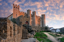 Castle In The City Of Obidos Portugal At Sunset