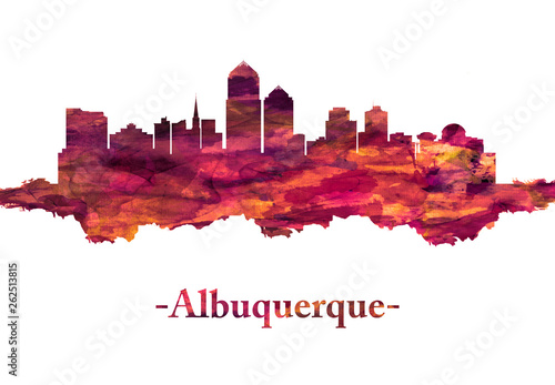 Albuquerque New Mexico Skyline in Red Canvas Print