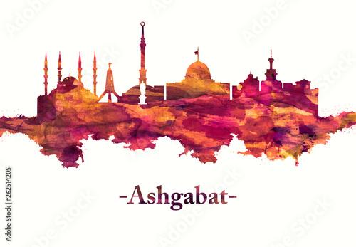 Ashgabat Turkmenistan skyline in Red Canvas Print