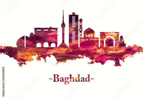 Fotografija  Baghdad Iraq skyline in Red