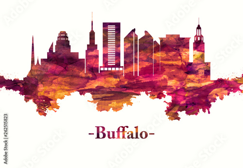 Buffalo New York skyline in Red