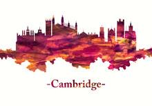 Cambridge England Skyline In Red