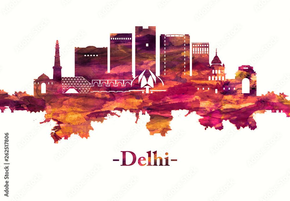 Delhi India skyline in red