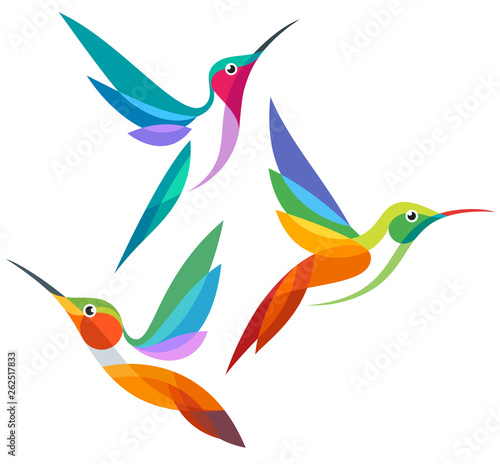 Obraz na płótnie Stylized Birds - Hummingbirds in flight
