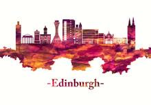 Edinburgh Scotland Skyline In Red