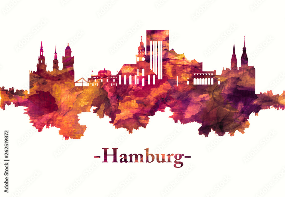 Fototapety, obrazy: Hamburg Germany skyline in red