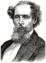 Charles Dickens Black Portrait In Line Art Illustration