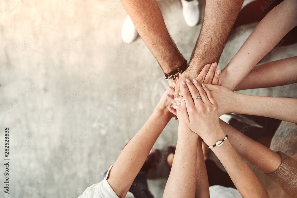 Fototapety, obrazy: Teamwork, unity concept, group of friends put their hands together with copy space