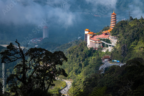 Printed kitchen splashbacks Khaki Chinese Pagoda Temple on top a hill in Genting Highland, Malaysia