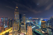 Beautiful night scene of iconic Kuala Lumpur landmark, aerial view illuminated by city light, cityscape landscape.