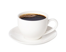 Black Coffee In Cup Isolated O...