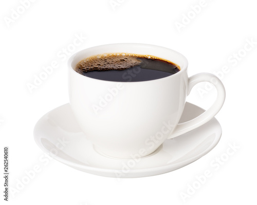 Obraz Black coffee in cup isolated on white background. - fototapety do salonu