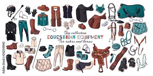 Fotografie, Obraz  Vector illustrations on the equestrian equipment theme.