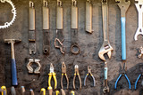 Wall with different working tools and wrenches for bicycle repairing - 262548069