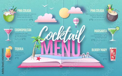 Cocktail menu design. Cut out paper art style design.
