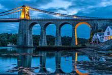 Night View Of Menai Bridge