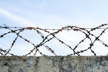 Loops Of Barbed Wire On An Old Concrete Fence, Against A Blue Sky