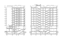 Multistory Building Section, Detailed Architectural Technical Drawing, Vector Blueprint