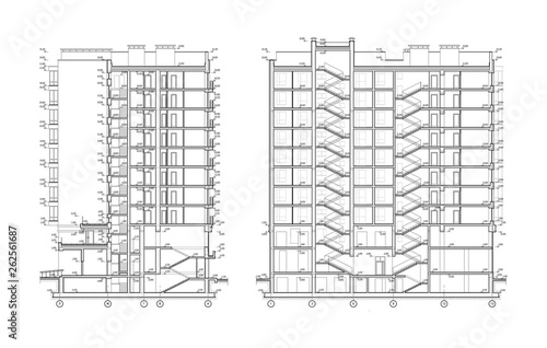 Photo Multistory building section, detailed architectural technical drawing, vector bl