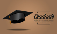 Education Concept Graduation Party Banner Realistic Cap With Shadow