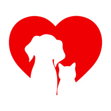 Illustration Of A Dog And A Cat On The Background Of The Heart