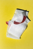 Bandage with tape on yellow. Top view. - 262568099