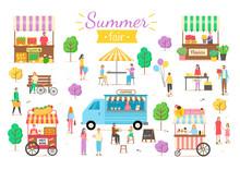 Summer Fair Activities Vector,...