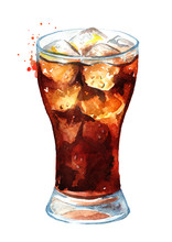 Drink Cola In Glass With  Ice ...