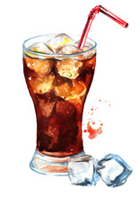 Drink Cola In Glass With Straw...