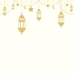 Eid Mubarak. Ramadan Mubarak greeting card with Islamic ornaments. Vector.