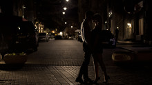 Loving Couple Kissing Tenderly In Night Street, Love In Big City, Sensuality