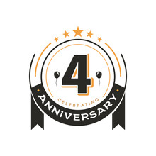 Birthday Vintage Logo Template 4 Th Anniversary Circle Retro Isolated Vector Emblem. Fourth Years Old Badge On White Background