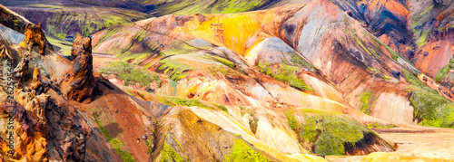 Fotobehang Meloen Landmannalaugar rainbow mountains in Fjallabak Nature Reserve, Iceland.