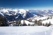 Beautiful winter landscape. People skiing in Hoch Ybrig ski resort, Switzerland, Europe.