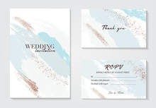 Abstract Grunge Blue White Pattina Greeting Card. Hand-drawn Pastel Glitter Foil Effect Gold Retro Texture. Trendy Chic Wedding Background Made In Vector.