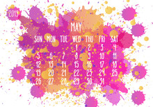 May Year 2019 Paint Monthly Calendar