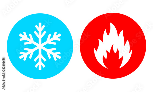 Fotografiet Hot and cold vector icon