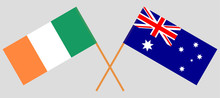 Australia And Ireland. The Australian And Irish Flags. Official Colors. Correct Proportion. Vector