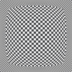 Checkered sphere pattern, 3D black and white squared background. Vector illustration