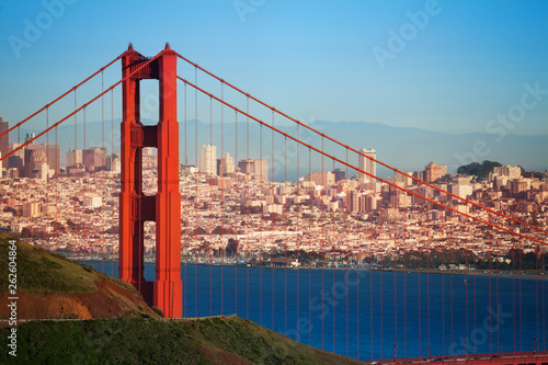 Cityscape of San Francisco and Golden Gate Bridge Canvas Print