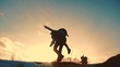 father and daughter teamwork happy family tourists silhouette concept rides on his back livestyle funny video. team dad and daughter on sunset play dabble the top of the mountain with backpacks