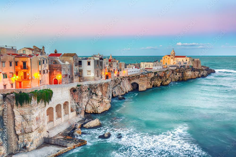 Fototapeta Vieste - beautiful coastal town on the rocks in Puglia