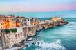 canvas print picture - Vieste - beautiful coastal town on the rocks in Puglia
