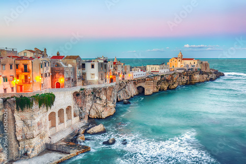 Printed kitchen splashbacks Purple Vieste - beautiful coastal town on the rocks in Puglia