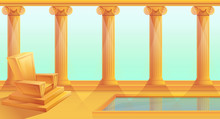Cartoon Throne In Greek Style,...