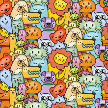 Seamless Pattern With Cute Animals. Dogs, Cats, Lion