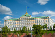 Grand Kremlin Palace In Moscow Against The Backdrop Of Clouds On A Sunny Day