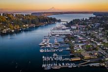 Orange Sunset Glow Above Gig Harbor Washington