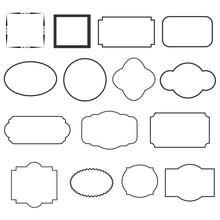Set Of Decorative Vintage Frames. Set Of Black Round And Square Vintage Frames.