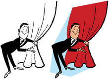 A Man Pulls Back A Red Curtain To Reveal Something Exciting.